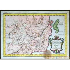Old map of China centerd around the Amur River. Bellin 1748
