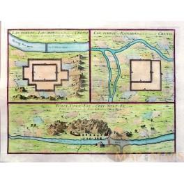Forts China rivers, Tchin Ywen Fort old map Bellin 1750