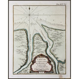 SURINAME , COPPENAME AND SARAMACCA RIVERS, ANTIQUE MAP, BELLIN 1758