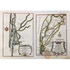 2 ANTIQUE MAPS SENEGAL RIVERS GEOGRAPHY OF SENEGAL BY BELLIN 1750