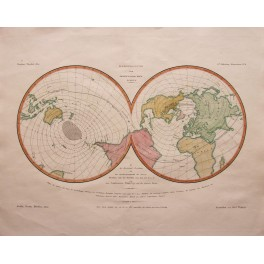 Rare Double hemisphere old map by Justus Perthes 1850