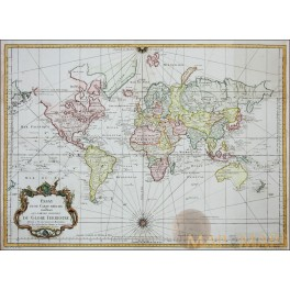 Antique World Map Essay D'Une Carte DU GLOBE TERRESTRE Bellin 1748