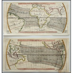 America – Oceans – Continents – Cross Winds - antique map Bellin 1753
