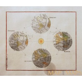 ANTIQUE ASTRONOMICAL MAP FOUR SEASONS OLD ENGRAVING ANONYMOUS c.1760