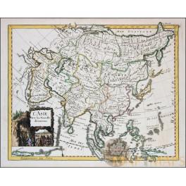 ANTIQUE MAP ASIA L' ASIE PERSIA CHINA JAPAN ANTIQUE MAP LE ROUGE 1756