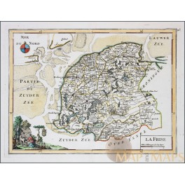 Friesland Holland Netherlands old map Le Rouge 1748