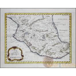 CENTRAL MEXICO, GOLF OF MEXICO ANTIQUE MAP CARTE DU MEXIQUE BELLIN 1764