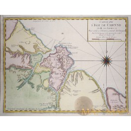 South America Cayenne Guyana old antique map Bellin 1754