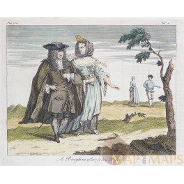 A 17e century Mayor and his Wife, old copper engraving 1760.