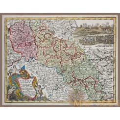 Silesiae Ducatus antique map Silesia by Seutter 1744