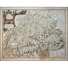 Switzerland Cantons Schweiz Old map Carte de la Suisse François Grasset 1769.