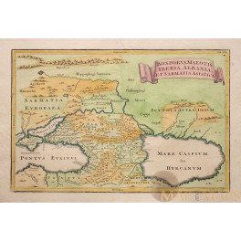 Caspian Sea Black Sea Old map Russia Ukraine Balkans Region Cellarius 1771