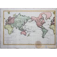World atlas map Antique map Planisphere ou Carte Generale du Globe Poirson 1810