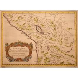 Peru Suite du Perou antique old map by d'Anville 1756