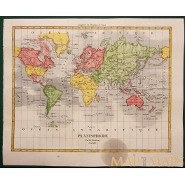 ANTIQUE MAP PLANISPHERE PANORAMA OF THE WORLD BY DUVERNAY 1840