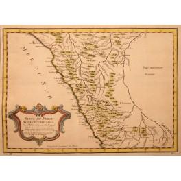 Peru Suite du Lima antique old map by d'Anville 1756