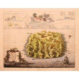 St. Helena Island antique engraving by J. Ogilby 1670