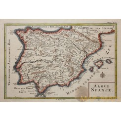 Spain Portugal Old Bible Map Alloud Spanje Besseling 1743