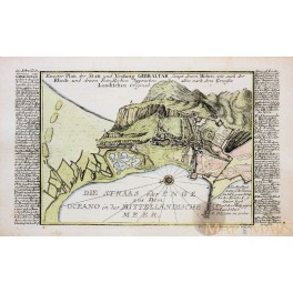1720 Antique map Rock of GibraltarSpain by Bodenehr, G