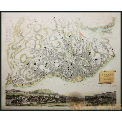 Lisbon Lisboa Portugal Baldwin & Cradock old map 1837