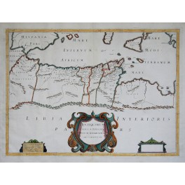 1640 ANTIQUE Karte Afrika, LIBIA MIT Melchoir TAVERNIER