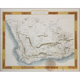 Cape Colony Old Map South Africa Cape Town-Tallis 1855