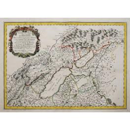 Neuchatel Berne Switzerland Swiss old map Sanson 1654