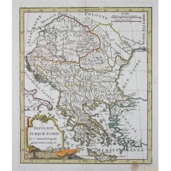 Hungary Antique old map Hongrie by Vaugondy 1810
