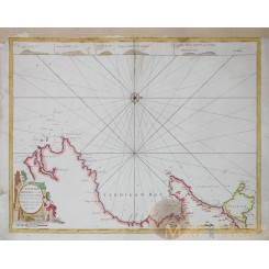 Welsh coast antique old sea chart by Collins 1779