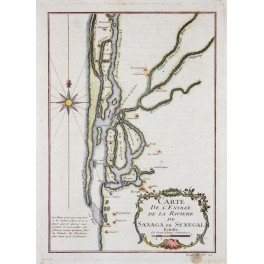 AFRICA RIVERS, SENEGAL, SAHARA RIVER, ANTIQUE MAPS BY BELLIN 1750