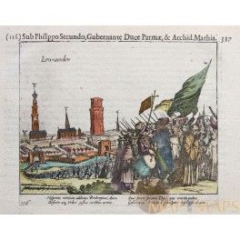 Leeuwarden Dutch Spanish war Old print Guicciardini 1612