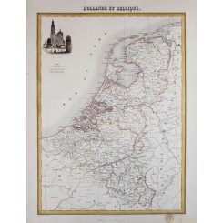 Map of Holland or the Netherlands and Belgium antique atlas map by Migeon 1884