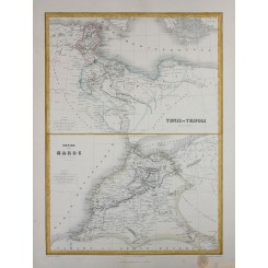 Africa-Tripoli-Tunis-Empire Morocco, detailed antique map by Migeon 1884