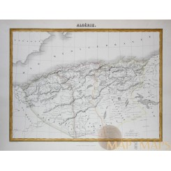 Algeria Central North Africa antique map by J. Migeon 1884