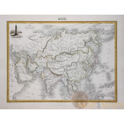 Asia Continent old atlas map by Migeon 1884