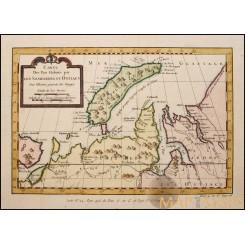 Old map Russia. Carte Des Pais Habites par Les... Bellin 1746