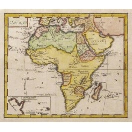 Africa Madagascar old historical map Vaugondy 1750