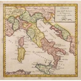 Italy Italia old historical antique map Vaugondy 1750