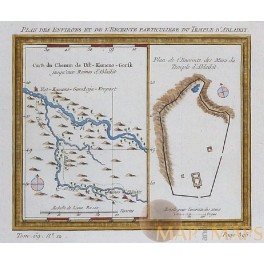 Plan Ablaikit Temple Siberia, Russian map Ust old engraving by Bellin 1750