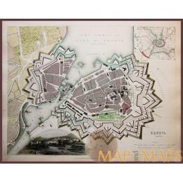 Antique hand colored map, Geneva, Switzerland by Baldwin & Cradock 1841