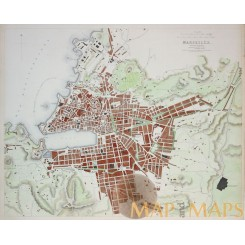 Marseille (Ancient Massilia) Old map France by SDUK 1840.
