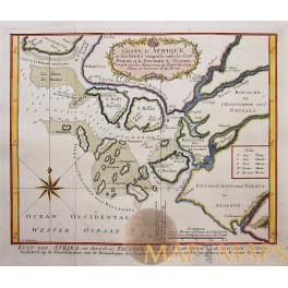 AFRICA MAP, CAPE ROUGE, NUNHO, COAST AFRICA BELLIN 1757