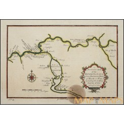 Africa Cameroon, Sanaga River antique map by Bellin 1759