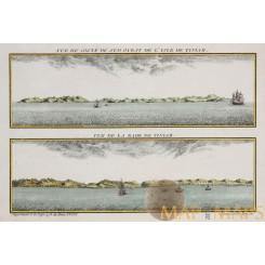 Pacific islands, Isle de Tiniam - Vue de la Rade de Tiniam. Bellin 1761