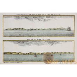 Isle de Tiniam - Vue de la Rade de Tiniam - Bellin 1761