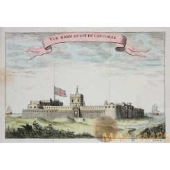 Fortress Cap Corse, Africa Antique print by Bellin 1750.