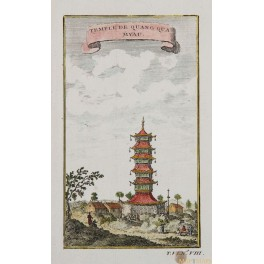TEMPLE OF QUANG QUQ MYAU CHINA Copperplate engraving by BELLIN 1749