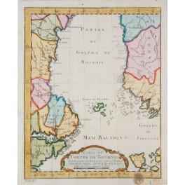 Gulf of Bothnia Sweden Finland Carte du Golphe de Bothnie old map by Bellin 1758