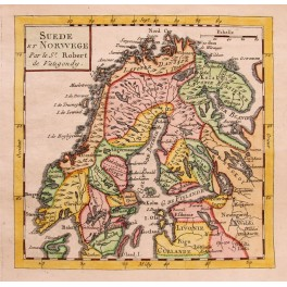 Sweden Finland Norway Livonia old map Vaugondy 1744