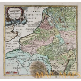 HOLLAND BELGIUM FINE OLD ENGRAVED MAP Germaniae Cisrhenanae BY CLUVER 1697.